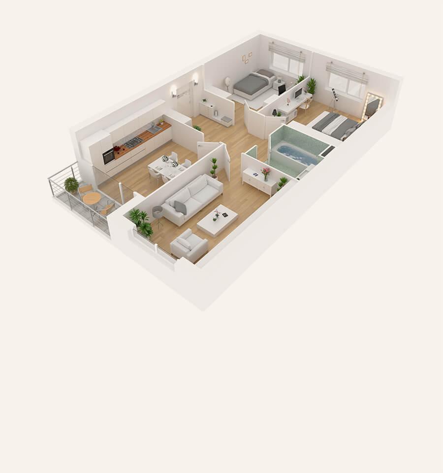 One 1/2 Bedroom